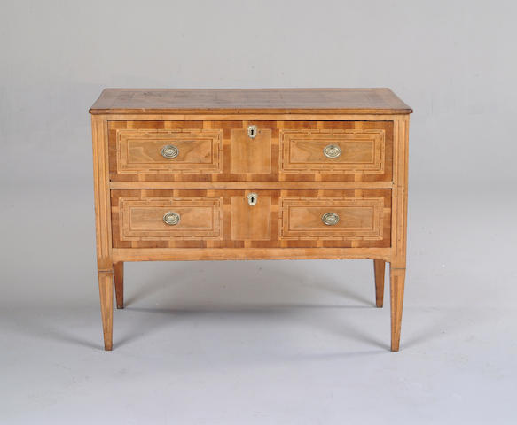 An Italian 18th century walnut and inlaid commode