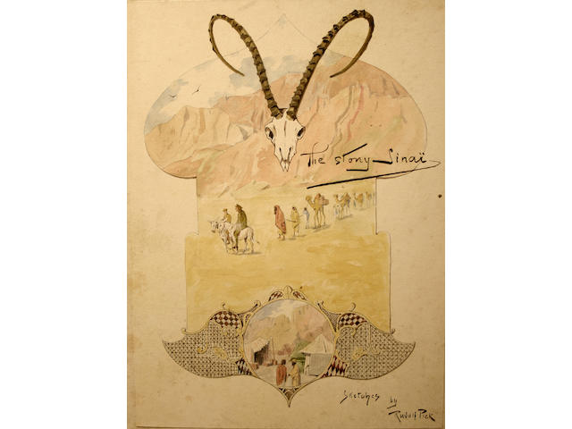 "Rudolph Pick ""The Story Sinai"", a series of humorous studies of a British game hunting expedition or journey in desert regionsin the late 19th/early 20th Century, 45 x 33cm (12)."