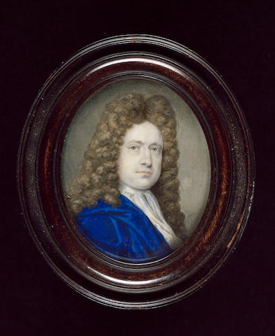 Bernard Lens III, William Cheyne, 2nd Viscount Newhaven (1657–1728), wearing blue cloak, white jabot and full-bottomed wig