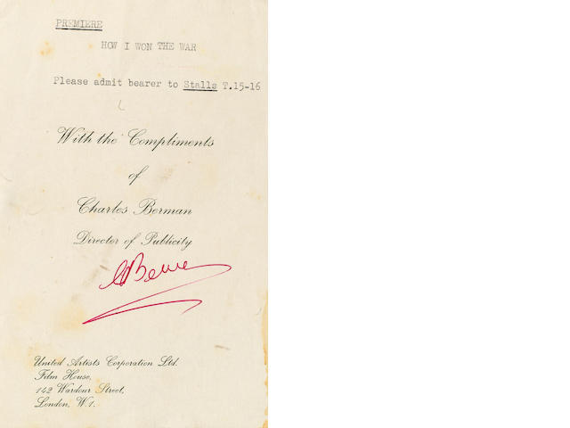 A scarce invitation to the premiere of 'How I Won The War',