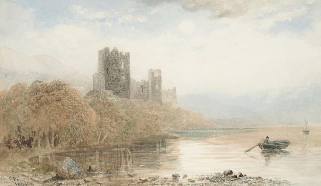 Cornelius Pearson (British, 1805-1891) A castle before a lake, 16.5 x 28.5 cm (6 1/2 x 11 1/4 in)