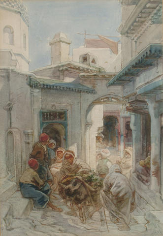 Guido Bach (German, 1828-1905) In the casbah, Algiers, 54 x 37.5 cm (21 1/4 x 14 3/4 in)