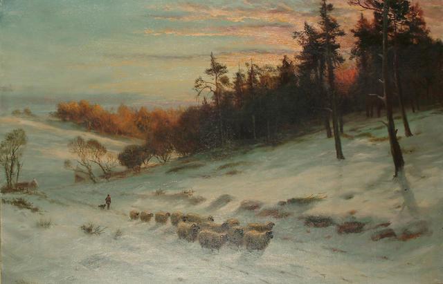 Daniel Sherrin (British, 1868-1940) 'The silent, shadowy close of day', 59.2 x 91 cm (23 1/4 x 35 3/4 in)