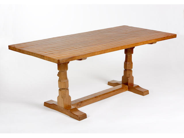 Robert 'Mouseman' Thompson, A oak dining table,