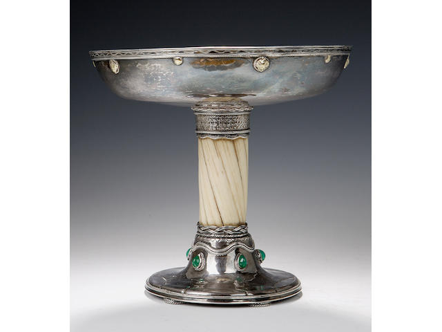Edward Spencer of The Artificer's Guild, A silver, narwal and gem set tazza,