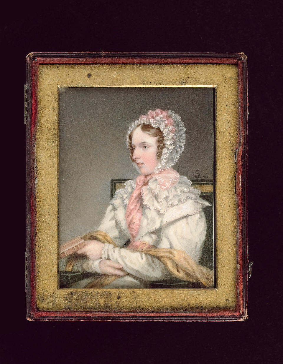 Samuel Lover, R.H.A., A Lady, seated, wearing white dress with layered lace collar, matching bonnet