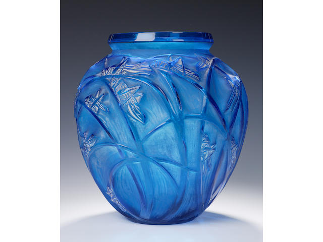 'Sauterelles',  A Rene Lalique electric blue and frosted glass vase,