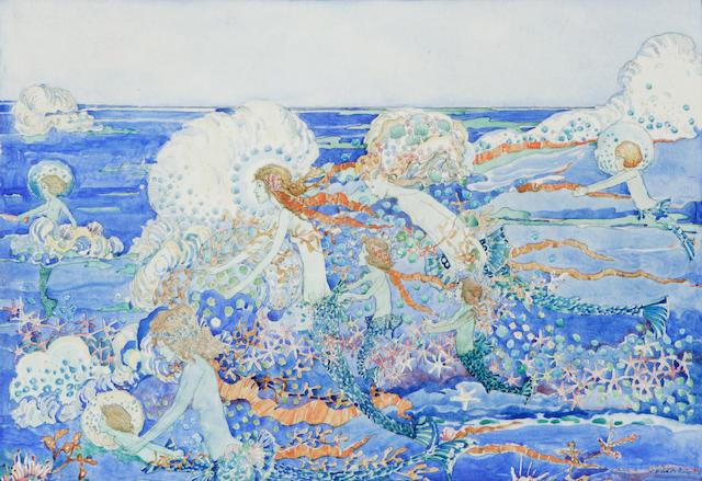 Jessie Marrion King, 'Mermaids teaching their babies to swim',