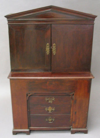 A mahogany cabinet, George III and later converted,