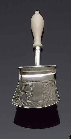 A George III silver and ivory handled caddy spoon, by William Pugh Birmingham 1810,