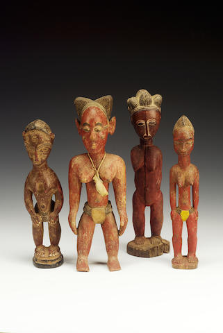 Four Baule red female figures 4