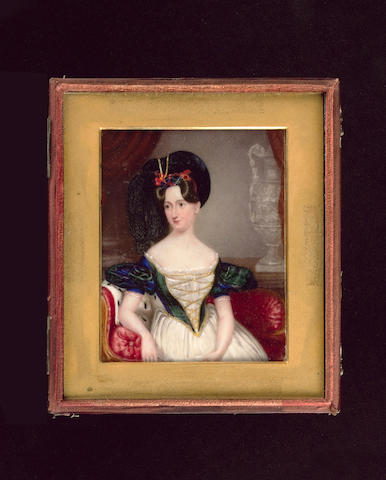 Attributed to Frederick Harding, A group of portraits of three sisters: the eldest, wearing white dress with tartan sleeves and laced bodice, black beret trimmed with tartan and adorned with plumes, rosettes and a ruby, ermine stole draped over the chaise-longue and Classical urn behind her; the other sisters, both wearing black dresses, the elder holding an eye glass in her right hand, her tartan stole draped over her shoulder and arm; the younger with hair in blonde ringlets, her tartan cloak to her right