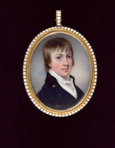 Henry Bone R.A., The poet Robert Bloomfield (1766-1823), wearing blue coat with black collar, white waistcoat and tied cravat