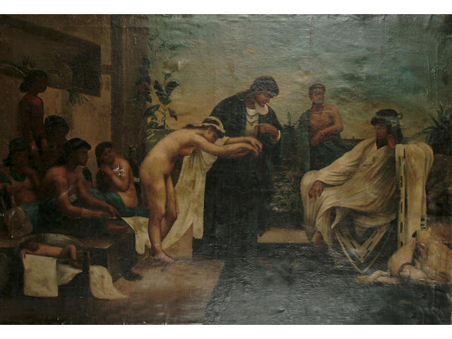 French School, 19th Century The slave auction; and The harem, each 84 x 120 cm (33 x 47 1/4 in) (2)