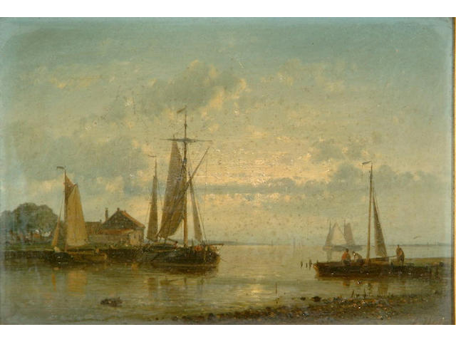 Abraham Hulk Snr. (1818-1897) Moored fishing boats on a calm; Putting out on a breezy day each 16 x 24cm.
