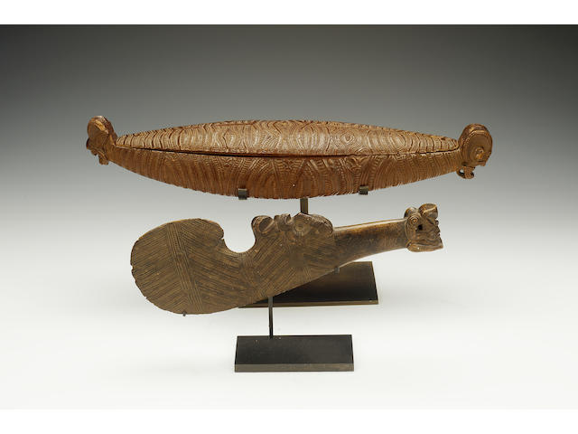 A maori feather box with stand