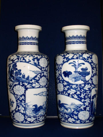 A pair of late 19th century Chinese blue and white vases