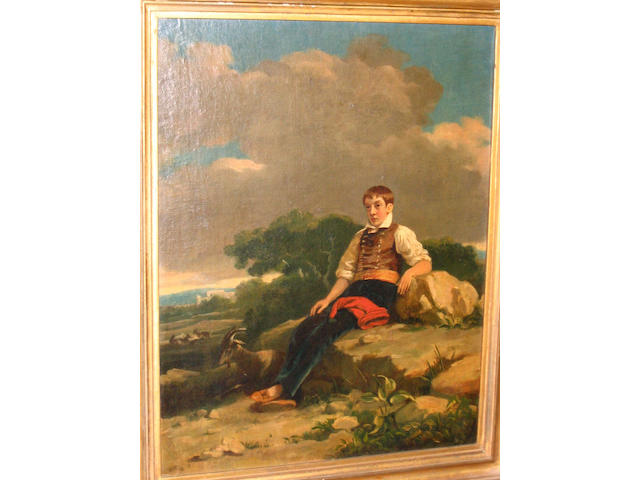 Irish School (early 19th century) A portrait of William Miller, full length, seated in a landscape, possibly on Malta, 45.7 x 35.3cm.