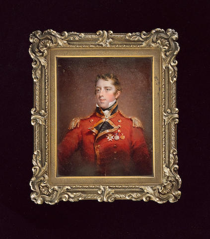 Attributed to Sir William John Newton, A Captain and Lieutenant Colonel, wearing the uniform of the 3rd Foot Guards, scarlet coat, blue facings, gold epaulettes, the Companion of the Bath, the Waterloo Medal and the Peninsular Gold Medal on his chest