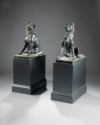 A pair of 19th century carved serpentine marble Models of the 'Jenkins dogs'