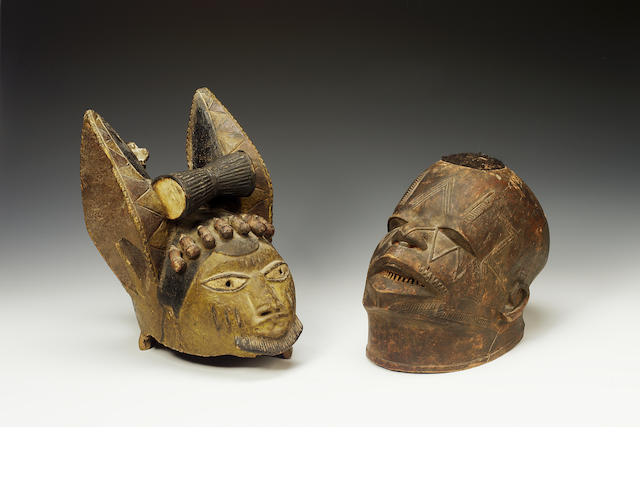 Yoruba helmet mask and Makende mask (2)