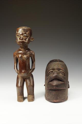 3 Congo stools, a Makonde helmet mask and a Makonde figure (5)