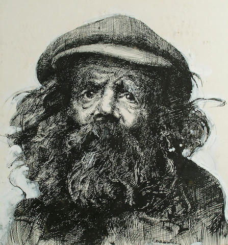 Robert Lenkiewicz (British, 1941-2002) Portrait of Diogenes 38 x 36cm (15 x 14in)