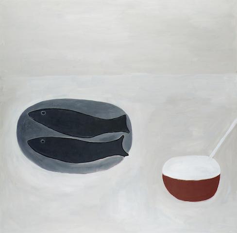 William Scott R.A. (1913-1989) Double Grey Fish Still Life 101.6 x 101.6 cm. (40 x 40 in.)