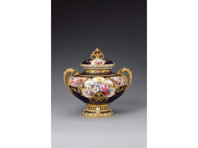 A Royal Crown Derby vase and cover by Albert Gregory date code for 1902