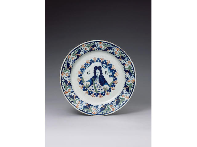 A rare English George I commemorative delft dish circa 1714