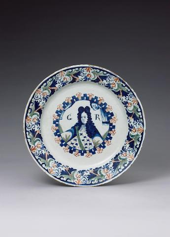 A rare English George I commemorative delft dish circa 1714