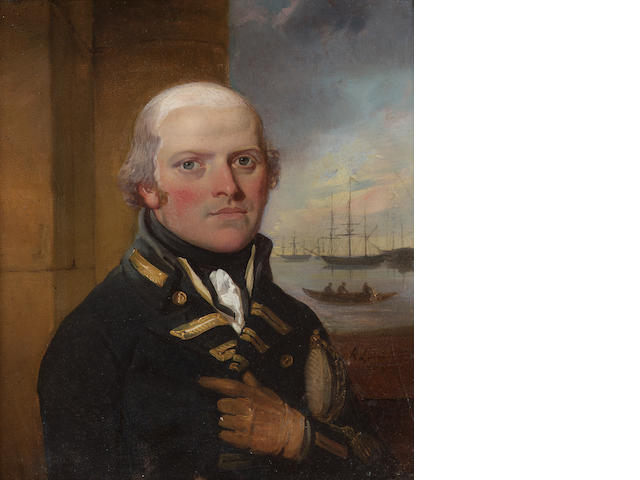 Richard Livesay, Sir George Murray (1759-1819), wearing Naval uniform, he holds his sword in the crook of his left arm, beyond him an open window to a scene of ships and a rowing boat