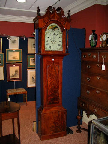An early 19th century mahogany longcase clock by Francis Kerby, Jersey