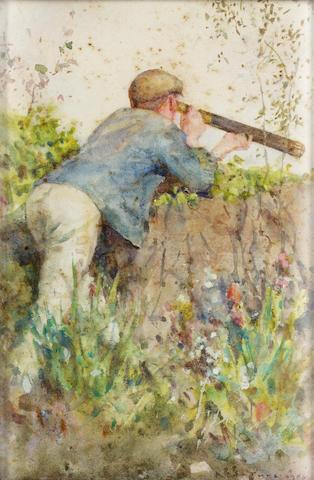 Henry Scott Tuke R.A. (1858-1929) Man looking through a telescope 21.5 x 14.2 cm. (8 1/2 x 5 5/8 in.)
