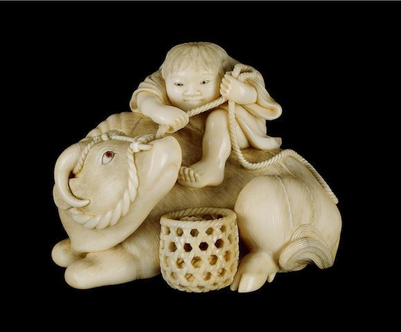 KAIGYOKUSAI MASATSUGU of Osaka [1813-1892]; a very fine ivory okimono,