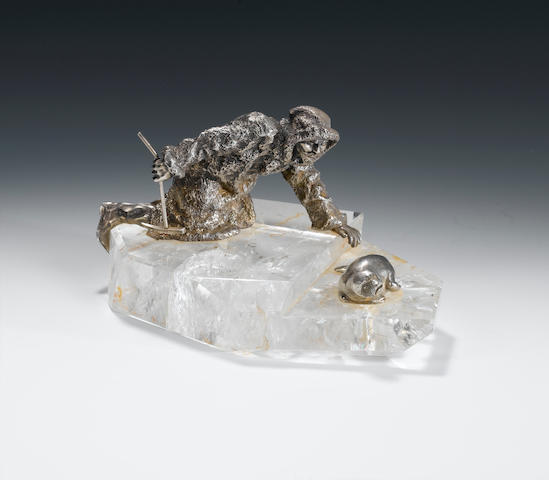 A silver and rock crystal group of a Kamchatka seal-hunter, Gratchev Brothers, 1908-1917 width: 20 c