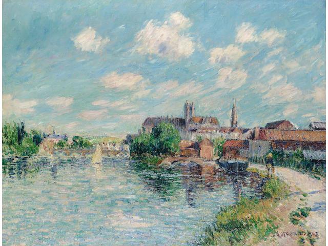 Gustave Loiseau (1865-1935) L'Yonne à Auxerre 51 x 66 cm. (20 x 26 in.)