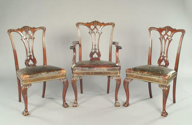 A good set of eight 19th century Chippendale revival mahogany dining chairs,