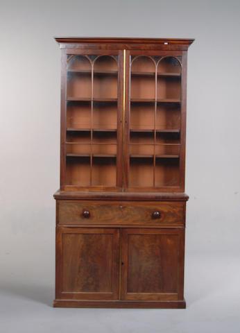 An early Victorian mahogany secretaire bookcase