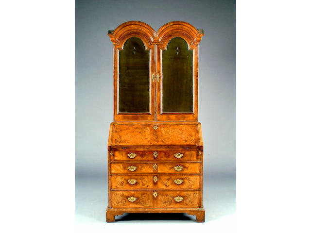 An 18th century herring banded walnut bureau bookcase,