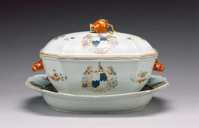 A famille rose armorial tureen, cover and stand