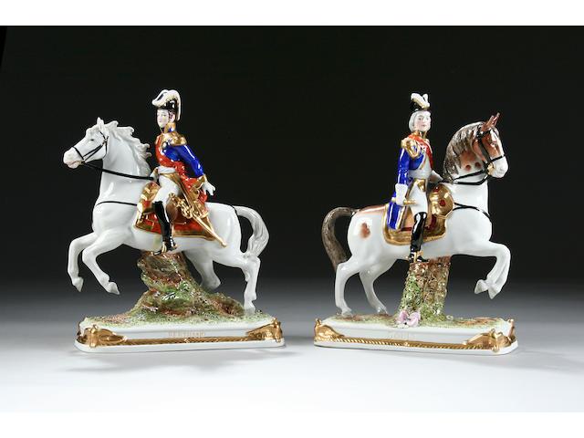 A pair of Sitzendorf Napoleonic equestrian figures 20th century