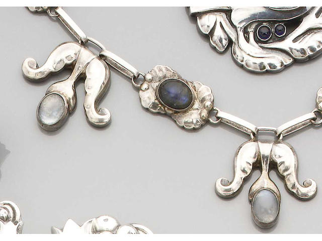 An early Georg Jensen necklace Numbered 9, with stamped marks 'G.I' and '830' in beaded oval punches,