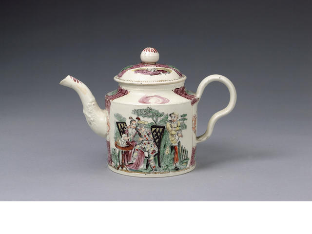 A William Greatbatch creamware printed teapot and cover