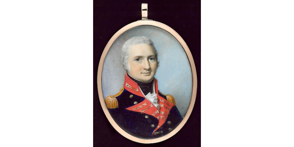 George Engleheart, A Field Rank Officer of the Royal Artillery, wearing blue coatee with scarlet facings, gold lace and gold epaulettes