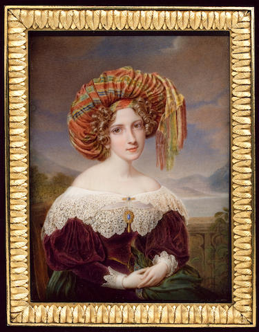 Jacques Louis Comte, A young Lady, wearing purple dress with cream lace cuffs and layered wide collar held with gold bar brooch set with blue gem, matching brooch at her corsage, gold pendent earring, large striped pink, yellow, blue and green silk turban in her curled blonde hair and green Kashmir shawl trimmed with embroidery in her lap, she sits on a wood chair with balustrade, lake and mountains beyond