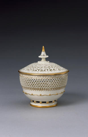 A fine Royal Worcester reticulated bowl and cover by George Owen circa 1920