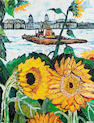 John Bratby R.A. (1928-1992) Sunflowers at Greenwich 111.8 x 86.2 cm. (44 x 34 in.)