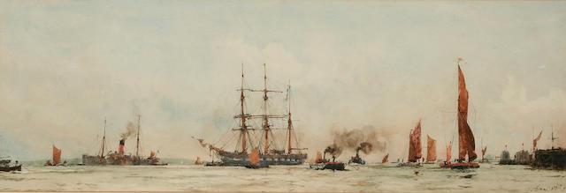 Charles Edward Dixon (1872 - 1934) 'Off Tilbury', 25.5 x 75cm.