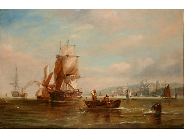 George Chambers (Junior) (fl. 1848 - 1868) Shipping off Greenwich, 59 x 90cm.